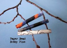 paper bead embellished hair bobby pins