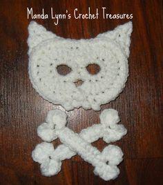 FREE Pattern by MandaLynn's Crochet Treasures : Kitty Skull n Bones Applique