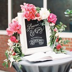 DIY Chalkboard Sign with Guest Book