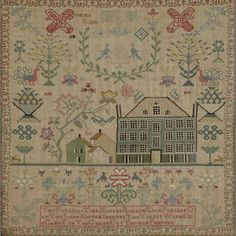 A late 18th / early 19th century needlework sampler by Jemima Ried; Any antique sampler with a house in it calls my name.