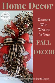 Decorate with natural grapevine and berry wreaths for your fall decor.  Wreaths add a nice touch to  your fall decor and are quick and easy to use.  This wreaths is on a natural grapevine and has stems of berries and rustic faux candy corn that is perfect for fall! Fall Entryway Decor, Fall Decor, Seasonal Decor, Holiday Decor, Wooden Snowmen, Handmade Signs, Decorative Bows, Berry Wreath, Candy Corn