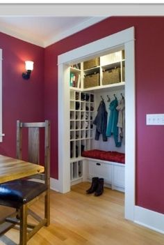 Front Closet turned mudroom…this just gave me the BEST idea. Hmmm @ Home Remodeling Ideas (I actually love this paint color but never for my Dads house or anything.maybe if I lived on my own or something) Craft Ideas,F Front Closet, Closet Mudroom, Closet Storage, Closet Doors, Laundry Storage, Diy Storage, Laundry Closet, Closet Bench, Extra Storage