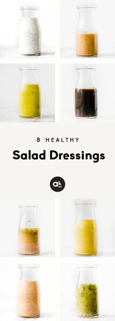 Say hello to 8 homemade healthy salad dressings that are quick and easy to make. Perfect for topping salads, dipping sweet potato fries in or drizzling on pizza or tacos. You're going to love these homemade dressing recipes made with ingredients you can actually pronounce. #salad #dressing #healthyeating #mealprep
