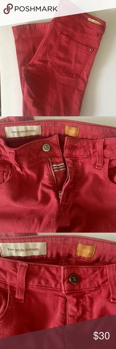 Pilcro and Letterpress jeans Excellent condition Raspberry color should size 30. Anthropologie Jeans Ankle & Cropped