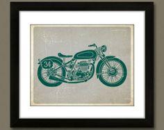 vitage motorcycle nursery | ... , Nursery Decor, Children's Art, Transportation - Vintage Motorcycle