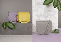 Colors high in vitamins to take your new projects up with energy! Lime Yellow, Mauve and Warm Grey: the new colors from the line Camelia are going to come very soon online and in stores. #newcollection #fall #winter #fw17 #yellow #mauve #grey #plants #setdesign #bags #camelia #lancaster #lancasterparis