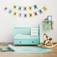 Birthday garland template ready to print and colorize by ogift #babies #birthday #template