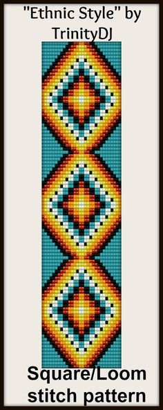 "New Loom or Square Stitch Bracelet Pattern ""Ethnic Style"" now available as direct download and/or kit. Please follow this link for more info - http://cart.javallebeads.com/Ethnic-Style-Loom-Pattern-p/td123.htm"
