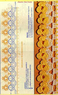 Kenar danteli örneği şemalı. Crochet Boarders, Crochet Edging Patterns, Crochet Diagram, Filet Crochet, Crochet Motif, Crochet Shawl, Crochet Doilies, Crochet Flowers, Crochet Stitches