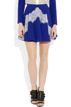 CARVEN  Silk-cady and lace mini skirt  $865