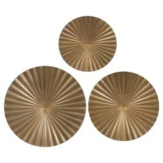 "Guest bath /// Gold Metal Radial Wall Décor 30""x30"" - Set of 3 : Target"
