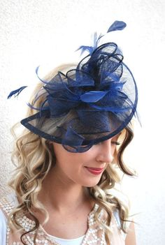 Navy Blue Sinamay Fascinator with feathers and satin headband Perfect Piece for a wedding, tea party or any other special occasion. -Ready to