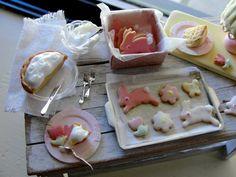 Dollhouse miniature Easter baking set Lemon cream pie Oh My! by Kimsminibakery on Etsy