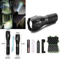 Super Bright LED Tactical Flashlight Rechargeable Battery Water Resistant Torch #PeakPlus #Custom