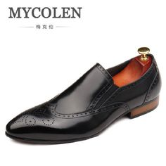 [ 45% Off ] MYCOLEN Luxury Brand Autumn Genuine Leather Men Wedding Brogue Shoes Man Office Formal Pointed Toe Dress Shoes sapato social