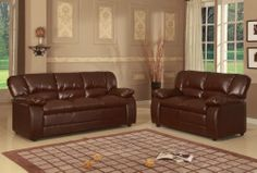 Kings Brand Sky Brown Leather Sofa & Love Seat Living Room Set by Kings Brand Furniture. $739.99