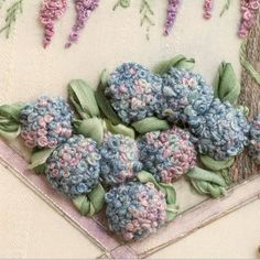 Tutorial on stumpwork hydrangeas. Wouldn't this look exquisite on a lightweight sweater? Cape Cod bursts with hydrangeas during our summers (it's practically the state, err, pennisula flower), and this artists has captured the color variations perfectly.