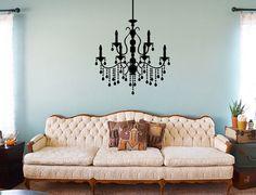 Chandelier Wall Sticker - Victorian Chandelier decal - Wall Chandelier #jensvinyldecals #homedecor