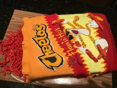 Flaming hot Cheetos cake by decorated dreams Cheetos, Themed Birthday Cakes, Themed Cakes, Cake Recipes, Snack Recipes, Bag Cake, Crazy Cakes, Food Cakes, Decorated Cakes