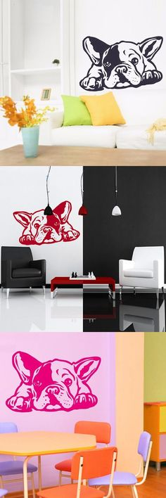 New French Bulldog Dog Wall Decals - 3D Vinyl Wall Sticker Home Decor French Interior Wall Art Mural Design Preferred $8.99