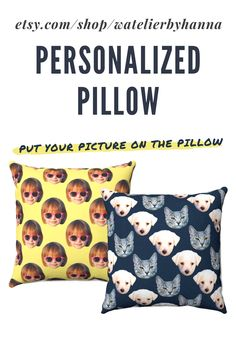Personalized Pillow Case With Faces / Custom Pillow With Dog Cat Pet Family Baby Picture / Face Pattern Pillow Cover / Housewarming Moving Gift #Home Baby Pictures, Cool Pictures, Cool Photos, Custom Pillows, Decorative Pillows, Moving Gifts, Personalized Pillow Cases, Bad Photos, Handmade Shop
