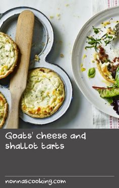 These tarts make a beautiful vegetarian starter when served aside some simple salad leaves. They are also perfect for a picnic.Equipment and preparation: For this recipe you will need two four-hole Yorkshire pudding tins. Goat Cheese Recipes, Flour Recipes, Easy Salads, Easy Meals, Picnic Salad Recipes, Yorkshire Pudding Tin, Vegetarian Starters, Goats, Tins