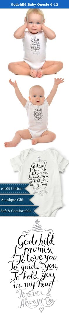 Godchild Baby Onesie 6-12. The Godchild Baby Onesie from Ocean Drop Photography is a one-of-a-kind design you'll be able to cherish for a lifetime! Each one features a beautiful promise to your Godchild that provides a thoughtful reminder of your love and guidance. Whether it's a religious celebration like a Christening or Baptism, or you need the perfect baby shower gift, this vest is one every parent will appreciate! With hand-drawn calligraphy, our cute baby onesies bring together fun...