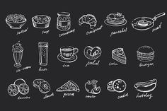 Food hand-drawn chalk on blackboard by TopVectors on @creativemarket