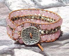 Leather Wrap Cuff Bracelet Leather Jewelry by ArilelJewelry