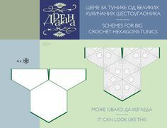 Crochet Hexagon & Triangle Motifs Diagrams. For large crochet hexgon and triangle tunics