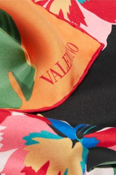 Valentino - Printed Silk-twill Scarf - Orange - one size