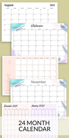 This 24 Month Calendar is just what you need to organize that hectic schedule! Get it now in PDF format and enjoy professionally-designed template. You can choose paper size: A4, A5, Letter or Half Letter. Or use it with Goodnotes, Xodo, Noteshelf and Notability for your Android tablet. #calendar #monthly #2021 #blank #print Schedule Calendar, Monthly Calendar Template, Monthly Planner Printable, Planner Template, Paper Size, Printables, Templates, Lettering, How To Plan