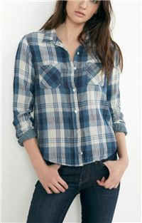 Velvet - Adrianna Plaid Button-Up Shirt: It's certainly not cropped, but it's short enough that you don't need to tuck it in. It falls just around the hip (depending on your height), which looks perfectly relaxed with your favorite jeans.