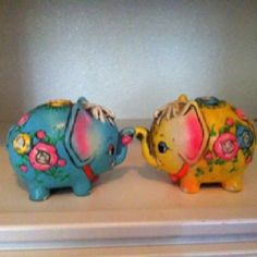 Little vintage 1970's piggy banks for Indian themed baby room:) I remember these!