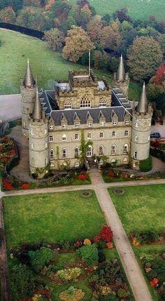 Inveraray Castle and Garden, Argyll, Scotland, home of Clan Campbell.