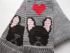 Black French Bulldog Scarf. Gray knit scarf with red por hooknsaw, $38.00