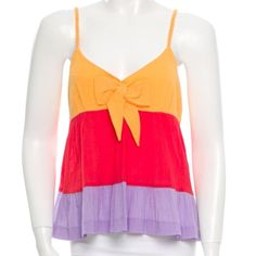 See by Chloe Bow Tank 100% cotton orange, red, purple tank with zipper. See by Chloe Tops Tank Tops