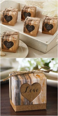 Rustic fall wedding favor ideas - Personalized Rustic Heart Favor Boxes #ad