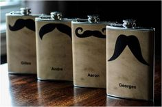 Grooms men presents can be fun, these moustache hip flasks make me smile