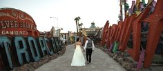 bride and groom at the Neon Museum in Las Vegas