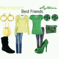 Hufflepuff and Slytherin but I cant sort of say best friends but I can set beat baby girl and the best mommy Female Harry Potter, Harry Potter Dress, Harry Potter Style, Harry Potter Outfits, Fandom Fashion, Nerd Fashion, Female Fashion, Slytherin And Hufflepuff, Fandom Outfits
