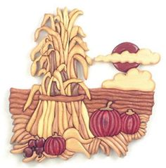 Harvest Patch Intarsia Plan Celebrate the fall harvest with this terrific intarsia piece. Corn, pumpkins and gourds always symbolize the arrival of fall and all are included in this wonderful scene. M