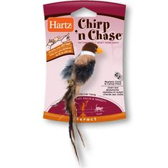 $7.75-$5.99 Hartz Chirp n Chase Cat Toy - Hartz Chirp n chase is a small plush bird cat toy with fleathers, catnip and a sound module that makes a chirping noise. The slingshot toy will provide hours of fun for you and your cat. http://www.amazon.com/dp/B001Q9EGKO/?tag=pin2pet-20