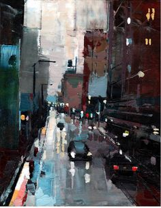 State Street. Oil on wood. 11 x 14 x 1 in. Michael Goro | represented by www.jennifernorback.com | 774 671 5945