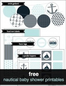 FREE nautical baby shower printables at Shower That Baby - cupcake toppers, favor tags, food labels, banner - http://showerthatbaby.com/themes/gender-neutral-baby-shower-themes/nautical-baby-shower/