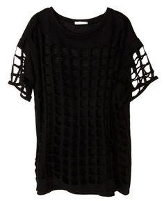 Hollow Short-sleeved Round Neck Cotton T-shirt