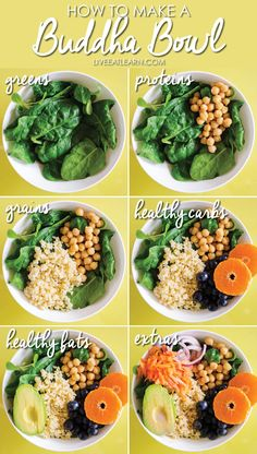 This 15 Minute Buddha Bowls recipe is a balanced, healthy meal that comes together in no time! It's a flavorful combo of healthy grains, chickpeas, fruit and avocado with a creamy, citrusy yogurt dressing. 15 Minute Buddha Bowls - The orange dressing so Healthy Carbs, Healthy Grains, Healthy Snacks, Healthy Eating, Eating Clean, Clean Eating Recipes For Dinner, Clean Eating Breakfast, High Protein Vegan Meals, Plant Based Dinner Recipes