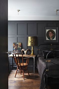 There's something just so good about plain black walls. They're luxe-looking, moody in the best way possible, and work in both minimalist and maximalist spaces. Better yet, dark walls are less likely to show wear and tear. Interior, Home, Home Bedroom, Bedroom Design, House Interior, Bedroom Inspirations, Dark Interiors, Black Walls, Interior Design