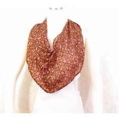 Burgundy Floral Scarf Silk Scarf Infinity Scarf Gift for Her Red... ($16) ❤ liked on Polyvore featuring accessories, scarves, burgundy infinity scarf, red scarves, circle scarves, summer scarves and lightweight infinity scarves