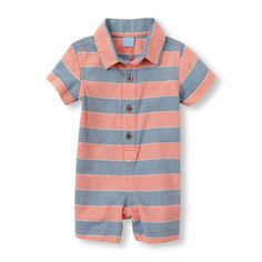Newborn Baby Boys Short Sleeve Striped Oxford Romper - Pink - The Children's Place